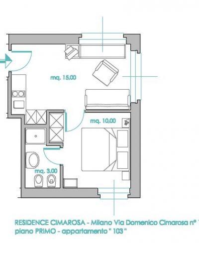 planimetria residence cimarosa bilocale
